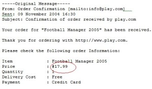 Football Manager 2005 receipt