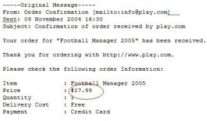 Football Manager 2005 receipt