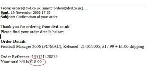 Football Manager 2006 receipt