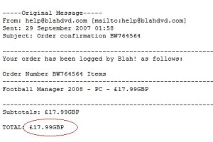 Football Manager 2008 receipt