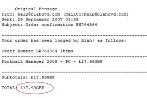 Football Manager 2008 receipt